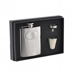COFFRET 4 PIECES FLASQUE INOX + GOBELETS + ENTONNOIR