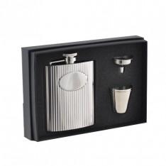 COFFRET 4 PIECES FLASQUE INOX + GOBELETS + ENTONNOIR