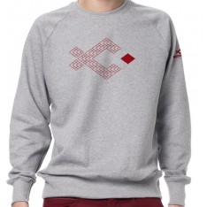 SWEAT SHIRT NATURLISH - LIGHT HEARTHER  MOTIF ECAILLES  ROUGES