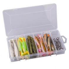 KIT LEURRES SOUPLES SAVAGE GEAR FAT MINNOW T-TAIL KIT : 36 PIECES